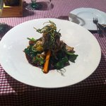 Fillet mignon with wild mushrooms and vegetables