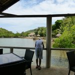 My favorite part of the resort - the Dining area sits atop the water for easy viewing of marine