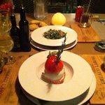tomate mozza revisitee et salade de poulpe. table d antoine