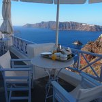 The balcony outside your room, where breakfast is serve to