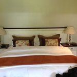 Beautiful bedroom with chocolate on the pillow each evening