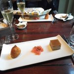 Champagne with delicious foie gras, quail and rhubarb starter
