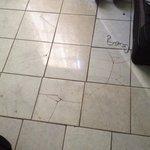 Cracks of tiles on floor