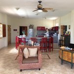 Common area with wireless internet, TV, bar for breakfast, beer, couches, and friendly company