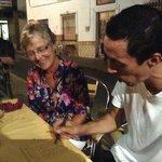 Luis preparing the bill...