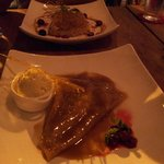 Front: Crêpe suzette, Vanilla ice cream, Back: Crepe with apple and salted butter caramel