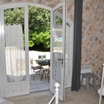 Adjoining room with single beds opening to the patio)