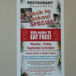 Poster with Specials @ O'Connor's Seafood Restaurant