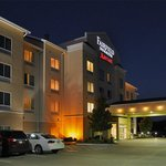 Even at night, the Muskogee Fairfield Inn looks nice! Notice tight parking spaces.