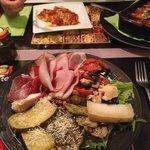 Assiette Italienne : charcuterie et fromage Italiens et Cannelloni mozzarella/gorgonzola