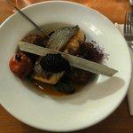 Salmon with crab cakes, caviar and mussels (Lachs mit Krabbenküchlein, Kaviar und Miesmuscheln)