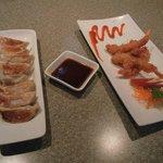 Gyoza Japanese Pork Dumplings and Coconut Tempura Shrimp.