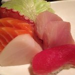Sushi Sashimi combination with miso soup and a California roll - very nice!
