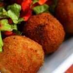 Cassava balls with fresh greens
