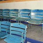 Seats from Yankee Stadium, 1960s era, in the museum theater