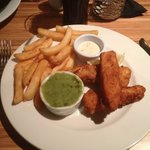 Homemade fish fingers and chips, absolutely delicious