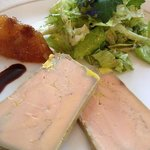 Homemade foie gras with chutney & salad greens from the garden