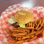 Hamburger with sweet potato fries.