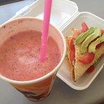 Watermelon, pineapple & coconut cream juice + avocado & tomato on Turkish bread
