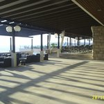 Seating area and outside restaurant