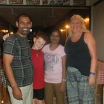 Raj and his wife with my son John and me ….
