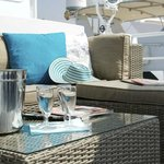 Lounge area on front deck, excellent to relax and enjoy the wide views over the marina