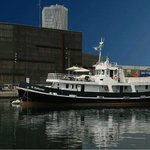 St. Katharine B&B Boat with on the background Telefonica building and Museu Blau