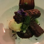 House special, warm chocolate brownie with hot chocolate sauce
