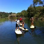 Family learns to SUP on the Russian River