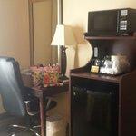 Kitchenette and desk