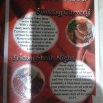 steak night and sunday lunch menu @ the Eddie