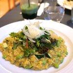 Le risotto aux haricots edamamé, zucchini, salade fraiche, fenouil cru