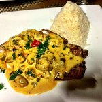 Grouper Filet with Mushroom Sauce and White Rice
