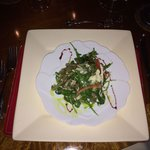 Arugula salad with shaved fennel and pear and a port vinaigrette.