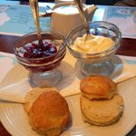 Warm scones & plenty of really good jam & clotted cream. Quality cream tea & their own lovely bl