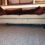 ONE, UN Hotel. New York, New York. Sofa: filthy, broken leg. Filthy carpet, filthy window, filth