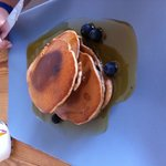 American Pancakes with Maple syrup and blueberries - yum !