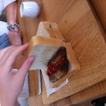Sausage sandwich, lovely flavoured sausages in a massive doorstop - simple but delicious.