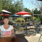Jolli Mon patio - Pinellas Trail arch in background