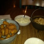 beans, slaw and hushpuppies