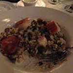 Scallops with mushroom and spinach risotto. Fabulous!