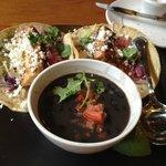 Fish tacos plus tasty beans.