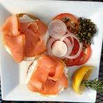 smoked salmon bagel $11.96