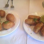 coxinha de galinha and pastel de bacalhau