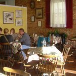 Inside the Odd Fellows Cafe.  Photos and artwork from local artists.