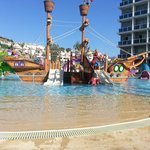 Pirate ship in kids pool