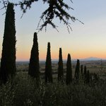 Tuscan sunset from the courtyard