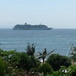 A Royal Caribbean cruise liner , Radiance of the sea , outside our balcony of the Ocean facing r