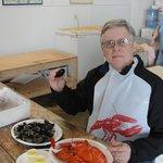Eating lobster