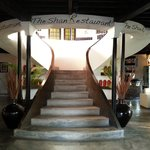 Lobby and the stairs up to the restaurant